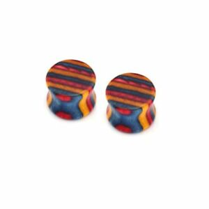 Pair-of-Colorful-Multi-Color-Wood-Stretch-Ear-Plugs-Earrings-Expander-Gauges