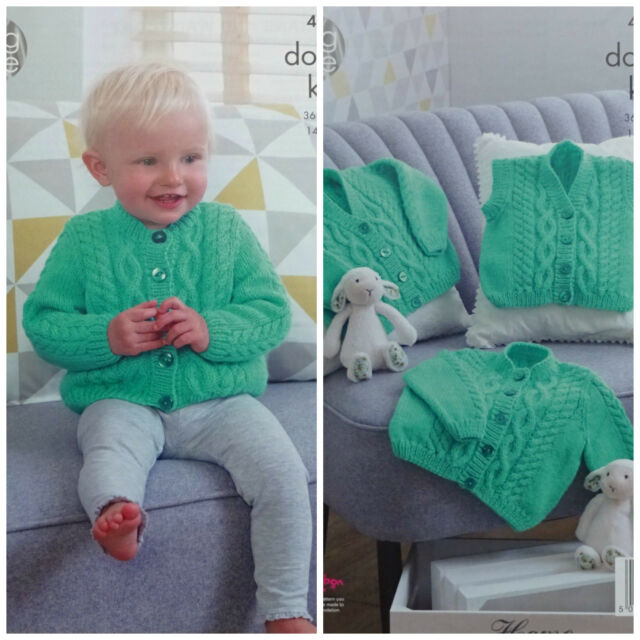 a61bf8ba8 King Cole 4968 Knitting Pattern Baby Cardigans and Waistcoat in ...