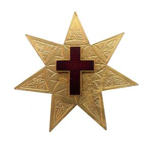 Star with 7 Points & Red Enamel Cross Gilded Symbol For Orange Order Collarette
