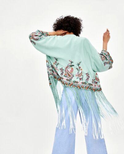 kimono geborduurde met Green Sea S m maat franjes Zara EqPHtfww