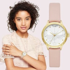 NWT-Kate-Spade-KSW1537-Rosebank-Gold-Tone-Scallop-Bezel-Pink-Leather-Watch