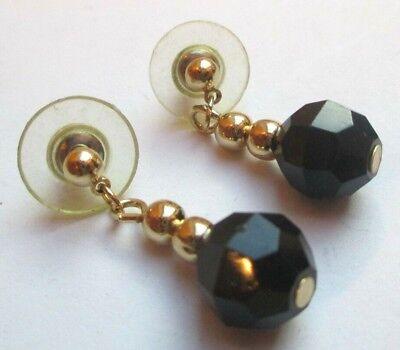 Belles Boucles D'oreille Percées Couleur Or Perle Noire Léger Bijou Vintage 5046