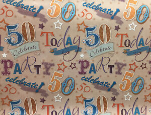 Image Is Loading 1 Sheet 50th Birthday Gift Wrap Wrapping Paper