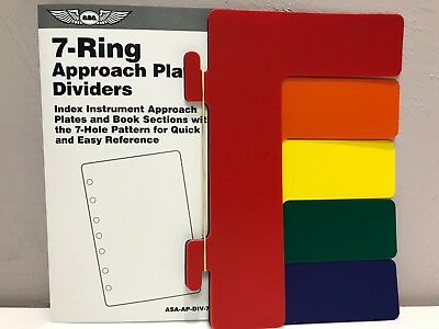 ASA 7-Ring Color Dividers for Jeppesen-style Binders ASA-AP-DIV-7RNG