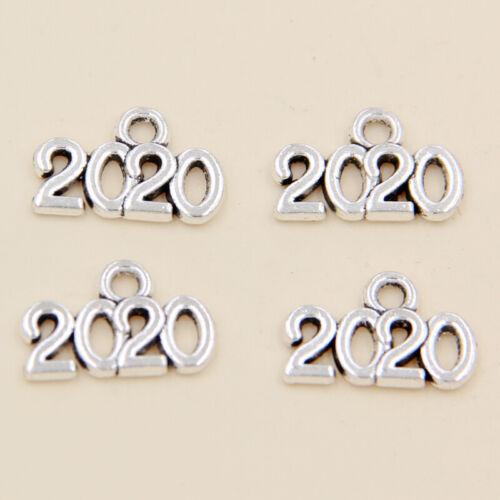 wholesale 40//82Pcs Silver 2020 Pendant 14x9mm (Lead-Free)