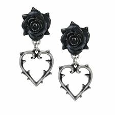 Alchemy Gothic Wounded Love Black Rose Thorn Heart Pewter Drop Ear Studs