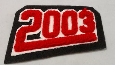 """2003 Letterman PATCH Red /& White on Black For School Sports Team Jacket 4/"""" x 3/"""""""