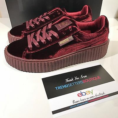 the best attitude de7cf 9ca92 PUMA RIHANNA VELVET CREEPERS US UK 3 4 5 6 7 8 FENTY CREEPER BURGUNDY RED  PURPLE | eBay