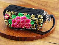 Vintage Hmong Thai Indian cosmetic bag Ethnic hippie Bohemian purse handbag