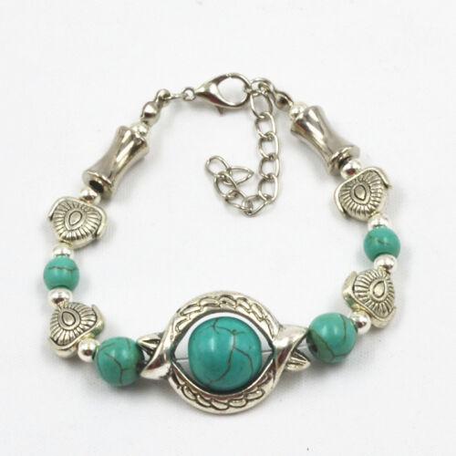 Vintage tibétain plaqué argent Bracelet Turquoise Inlay Fish Bead Ajuster Bracelet