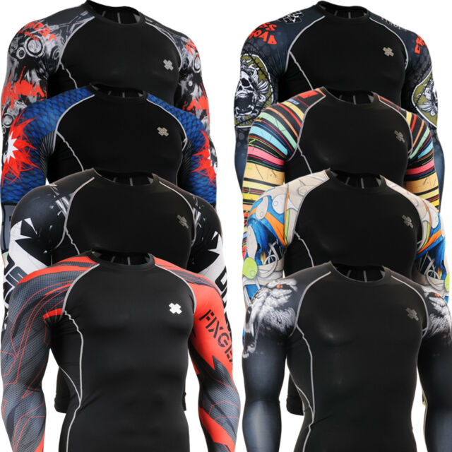FIXGEAR mens Womens BASE LAYER SKIN COMPRESSION tight Top running shirts  S~4XL