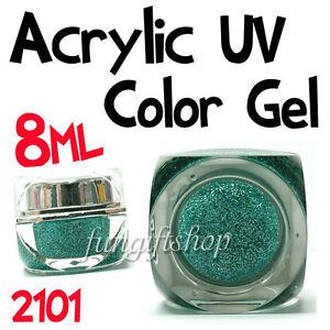 Nail-Art-Sea-Green-8ml-0-25oz-UV-Builder-Color-Dust-Glitter-Gel-Acrylic-Polish