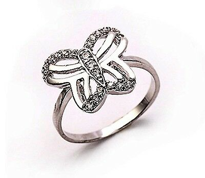 18k yellow gold filled CZ butterfly ring Sz7 R-A272-7