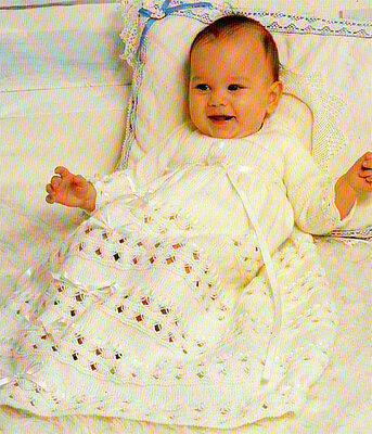 """Baby christening dress knitting pattern in 4ply- chest 18-20"""" lovely old pattern"""