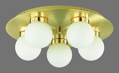 Altmessing Deckenleuchte mit Glaskugeln LED möglich 5 x E14
