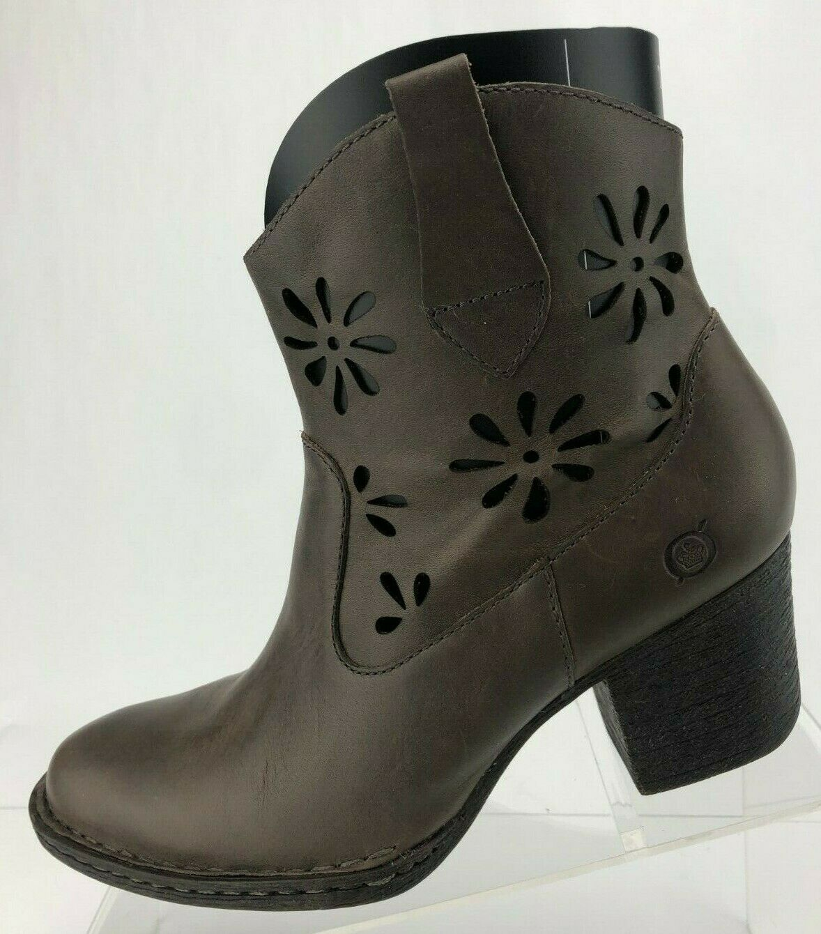 Born Ankle Stiefel Ivy Floral Cutout braun Leather Zip Casual Stiefelies damen 7 M