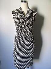 Max Studio Black/White Knit Textured Cowl Neck Knee Length Dress NWOT SZ: S