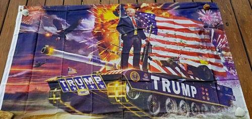 Trump 0n a Tank 2020 3 x 5 flag