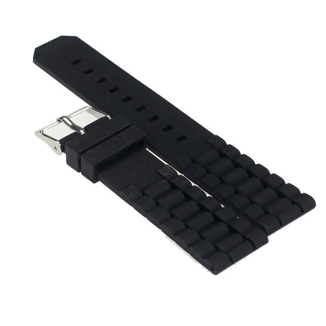 Mens Black Silicone Rubber Diver Watch Band Strap For Fossil Nate 20mm 22mm Gay