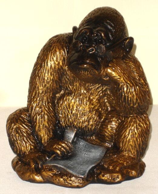 Gorilla Reads Wall Street Ape Monkey Statue Sculpture