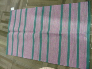 Pottery Barn Kids Green Pink Striped Rug 3x5 Flatweave