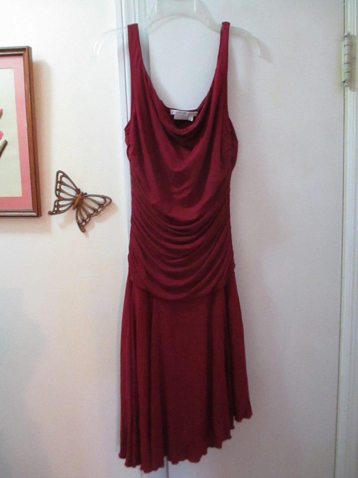 Burgundy Sleeveless Scrunched Asymmetrical Hem Knit Dress - Size M -  New w Tag