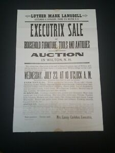 Antique Auction Broadside 1930s Wilton New Hampshire Albert Carleton Estate Ebay