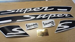 Carbon Vespa GTS Super Stripes Decal Sticker Kit GT Super 125 250 300 All Years