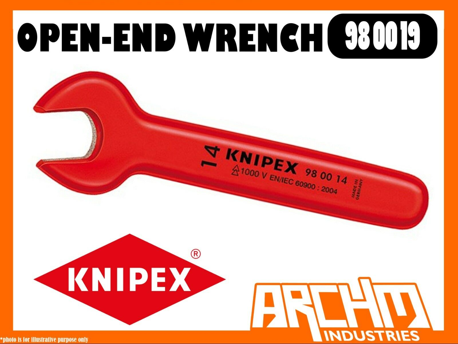 KNIPEX 980019 - OPEN-END WRENCH - 165MM - 19MM - JAW 15° ANGLED HEXAGON 1000V