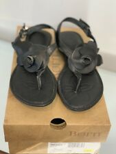 9bfef78b6c2b Born Women s Flat Thong Sandal Smooch Black Leather Size US 7 M EU 38 NEW