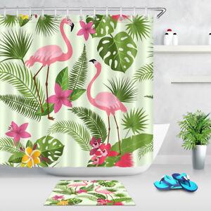 "71/"" Palm Leaf Design Waterproof Fabric Shower Curtain Liner Bathroom Doormat Set"