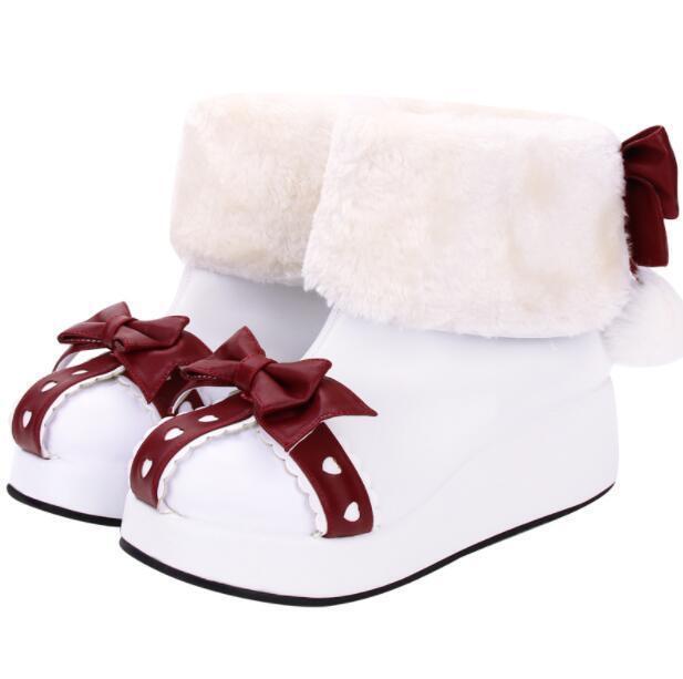 Nuevos Zapatos de tacos cuña para Lolita mujer Sweet con lazo Lolita para Tire de forro de piel botas al tobillo abff4c