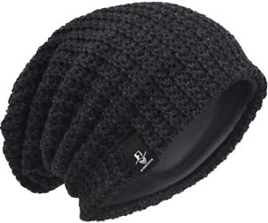 Men Oversize Beanie Slouch Crâne Tricot Large Baggy Bonnet Ski Chapeau B08 L Gris