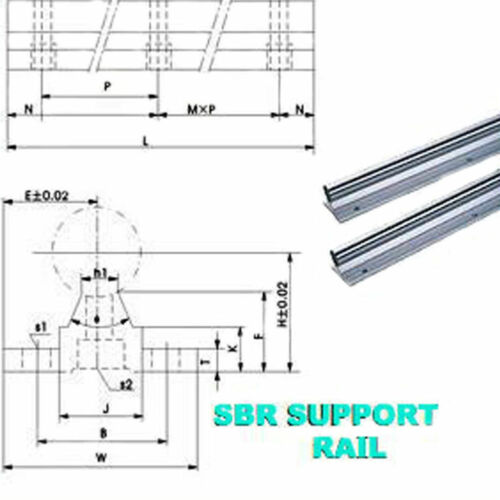 LINEAR BEARING SLIDE SBR12-1000MM 2RAILS+4 BLOCKS FOR CNC
