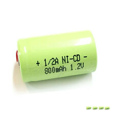 6 x 1/2 A 1/2A 800mAh 1.2V Volt NiCd Ni-Cd Rechargeable Battery Green with Tabs
