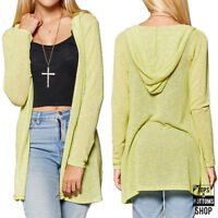 Women's Open Front Long Sleeve Hoodie Cardigan Stretch Fit Outwear