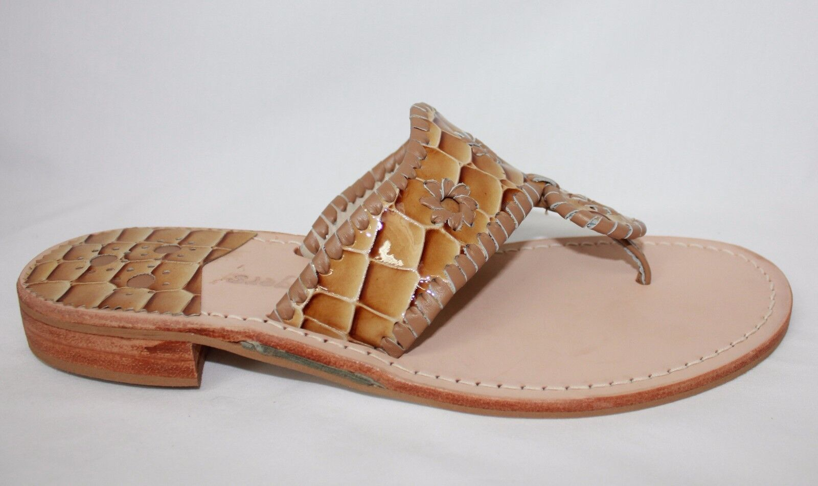 Jack Rogers Newport Croc Navajo donna Sandals Cognac Patent Leather Leather Leather New With Box 5f9b87