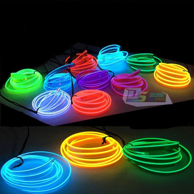 65FT/20M LED Flash Flexible Neon Light Glow EL Tube Wire Rope 5mm Lip Car Decor