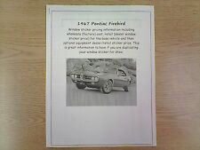 1967 Pontiac Firebird factory cost/dealer sticker prices for car & options $