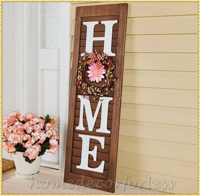 Wooden WELCOME Sign Plaque Door Porch Vertical Weathered Farmhouse Hanging Decor