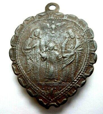 LiebenswüRdig Antiker Heiligen Anhänger Schutzamulett Herzförmig Bronze & Glas 18.jh. Rar!