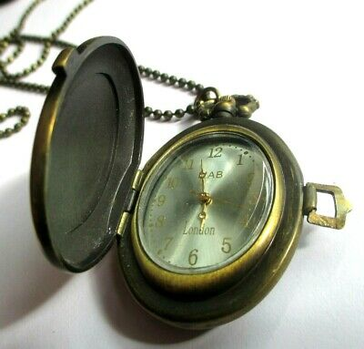 Ancienne Montre De Poche Bronze Doré Pendentif Collier Chaîne Bijou Vintage 2453