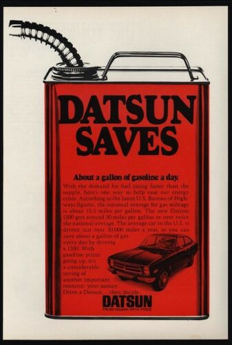 1973 DATSUN 1200 Saves Gas Gallon Of Gas A Day GIANT RED GAS CAN VINTAGE AD
