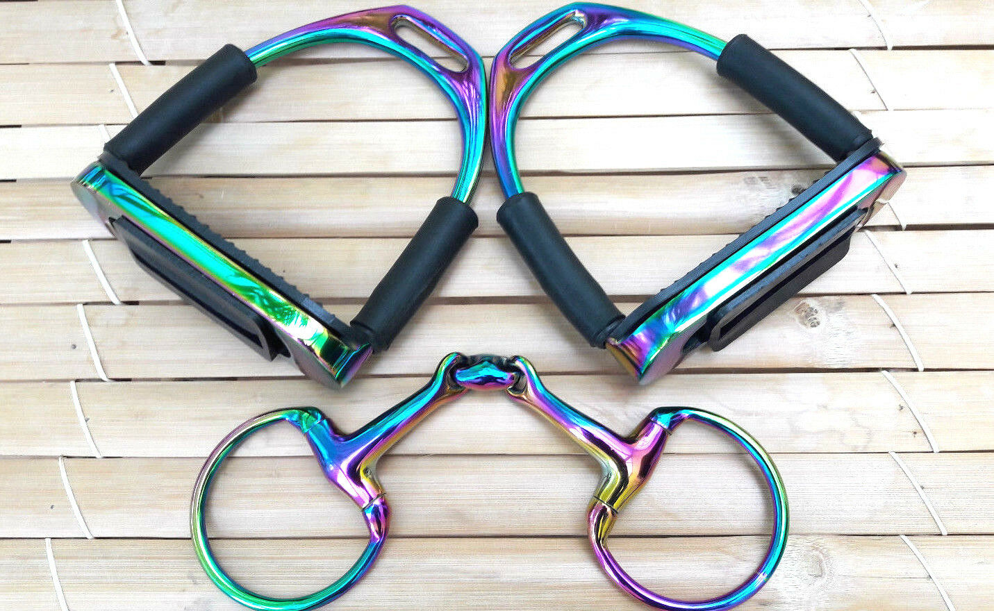Titanium Rainbow Flexi Stirrups and Eggbutt Snaffle Gift Set