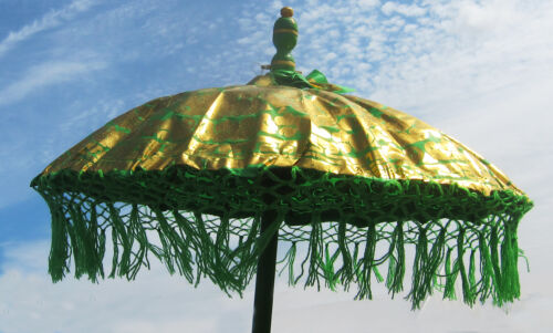 """hand-made wood Balinese temple new 34/"""" diameter colorful fringed fabric PARASOL"""