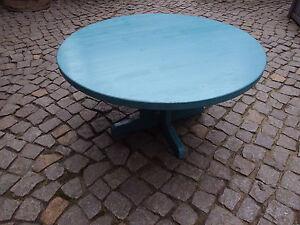 Kleiner blauer runder tisch beistelltisch gartentisch aus for Kleiner runder tisch beistelltisch