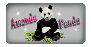 Panda-Bear-Vinyl-Decal-Sticker-Personalize-Any-Text-amp-Colors-3-5-034-x-6-034-Outdoors