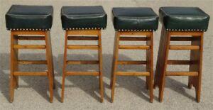Incredible Details About 1940S 1950S Vintage Tavern 4 Pine Bar Stools Basement Rec Room Cjindustries Chair Design For Home Cjindustriesco
