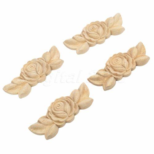 Bois sculpté Multi Type coin greffe apposée applique porte rose décoration d/'intérieur 1//4pcs