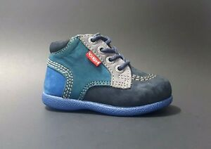 Brand New $80 KICKERS Baby Boys Shoes LEATHER Fashion Blue ...